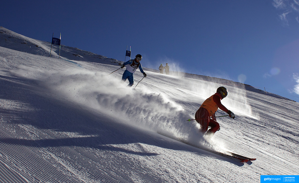 Jae Rim Yank, Korea, (left) with guide Ko Woon Chung, in action during the Women Giant Slalom Visually Impaired competition at Coronet Peak, during the Winter Games. Queenstown, New Zealand, 23rd August 2011. Photo Tim Clayton..