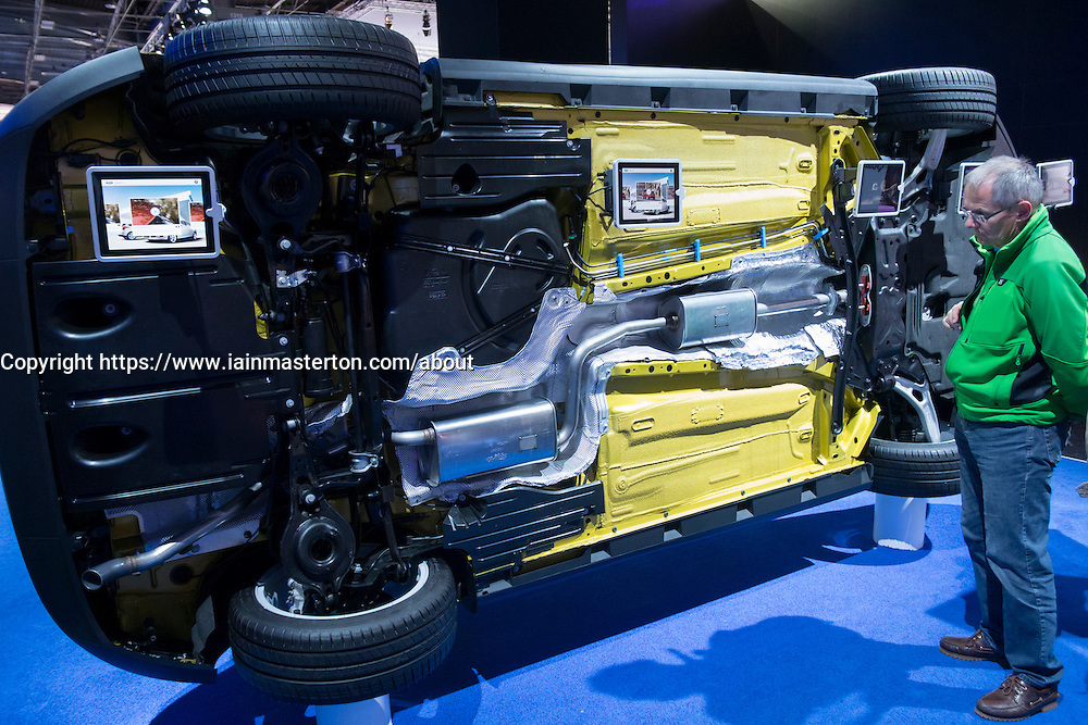 Underside of new Ford Focus car to display the quality of design and assembly at Paris Motor Show 2012