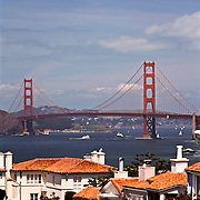 Golden Gate Bridge And San Francisco Bay From Seacliff Residential District; San Francisco, CA