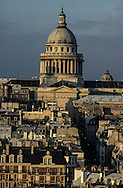 France. Paris elevated view from Notre dame cathedral. the montagne Sainte Genevieve, the Pantheon