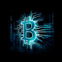 Glowing blue Bitcoin ₿ cryptocurrency, digital decentralized currency symbol, conceptual illustration of a bitcoin logo connected to a blockchain network.