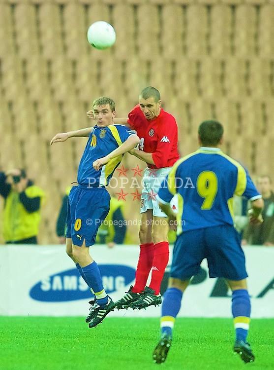 KIEV, UKRAINE - Wednesday, June 6, 2001: Wales' Andrew Melville in action against Ukraine during the FIFA World Cup Qualifying Group Five match at the Olimpiysky Stadium. (Pic by David Rawcliffe/Propaganda)