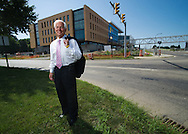 Don Plusquellic, mayor of Akron, in front of the partially constructed Bridgestone complex in Akron.