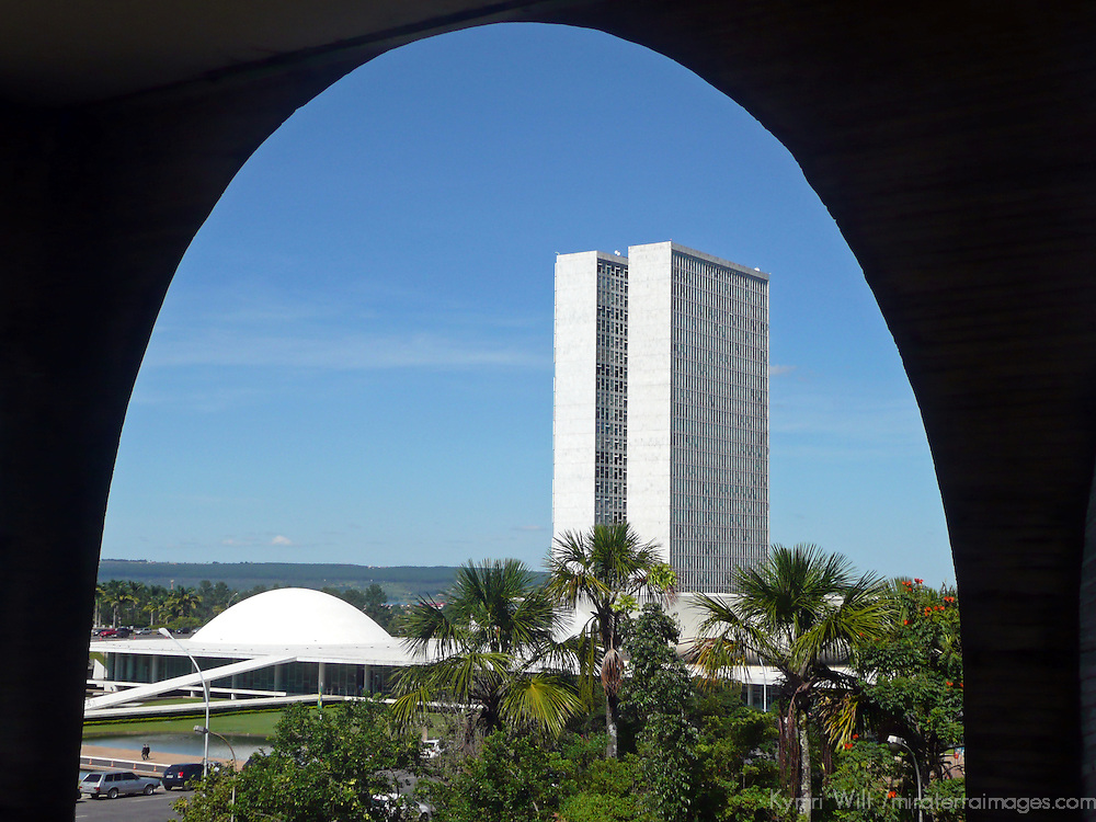South America, Brazil, Brasilia. Brazil's National Congress buildings, designed by architect Oscar Neimeyer, and a UNESCO World Heritage Site.