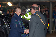 HRH The Princess Royal is greeted by the Lord Provost of Edinburgh, Frank Ross, before the Autumn Test match between Scotland and South Africa at the BT Murrayfield Stadium, Edinburgh, Scotland on 17 November 2018.