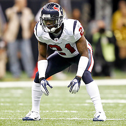 September 25, 2011; New Orleans, LA, USA; Houston Texans cornerback Brice McCain (21) against the New Orleans Saints during the third quarter at the Louisiana Superdome. The Saints defeated the Texans 40-33. Mandatory Credit: Derick E. Hingle