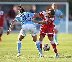 Manchester City Women's Kathleen Radkte challenges Bristol Academy's Tatiana Pinto - Photo mandatory by-line: Paul Knight/JMP - Mobile: 07966 386802 - 18/07/2015 - SPORT - Football - Bristol - Stoke Gifford Stadium - Bristol Academy Women v Manchester City Women - FA Women's Super League