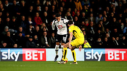 Thomas Ince of Derby County takes on Tom Flanagan of Burton Albion in front of a Sky Bet Advertising board - Mandatory by-line: Robbie Stephenson/JMP - 21/02/2017 - FOOTBALL - iPro Stadium - Derby, England - Derby County v Burton Albion - Sky Bet Championship