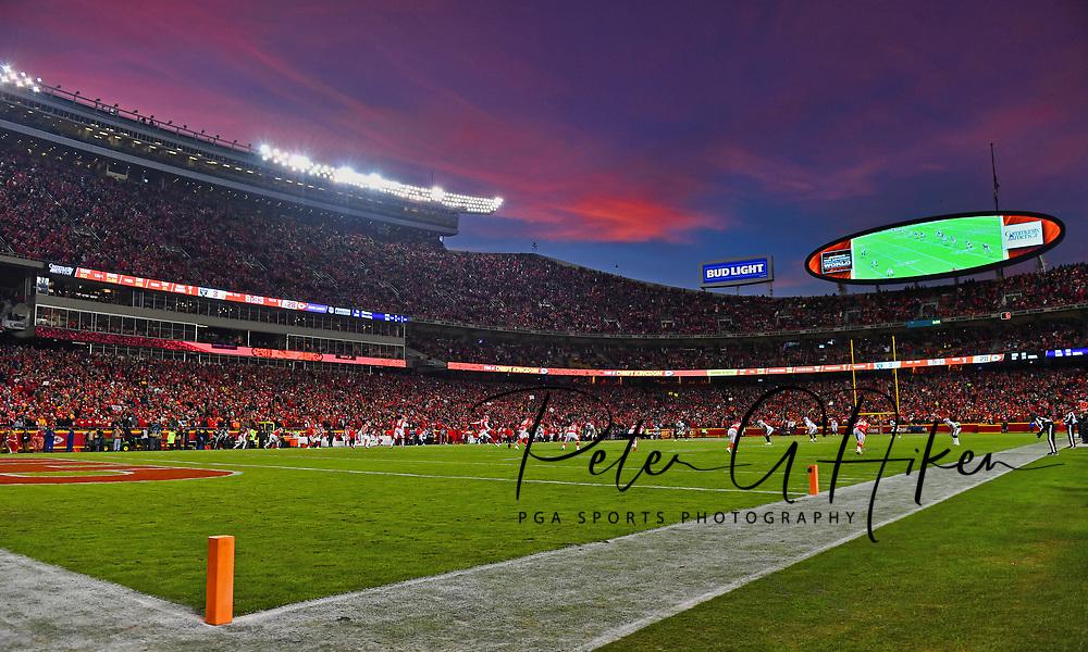 KANSAS CITY, MO - DECEMBER 30: Kicker Harrison Butker #7 of the Kansas City Chiefs kicks off to the Oakland Raiders during the second half at Arrowhead Stadium on December 30, 2018 in Kansas City, Missouri. (Photo by Peter G. Aiken/Getty Images) *** Local Caption ***  Harrison Butker
