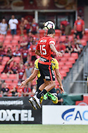 February 12, 2017: Western Sydney Wanderers midfielder Kearyn BACCUS (15) goes up for the ball at Round 19 of the 2017 Hyundai A-League match, between Western Sydney Wanderers and Central Coast Mariners played at Spotless Stadium in Sydney.