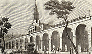 London and Greenwich Railway, Projector and engineer Lieut-Col George Thomas Landmann (1779-1854). Viaduct near Bermondsey New Church cutting across the landscape, obscuring the view of the church and completely at odds with the garden scene in the  foreground.  Wood engraving from 'The Penny Magazine', London, 9 January 1836.