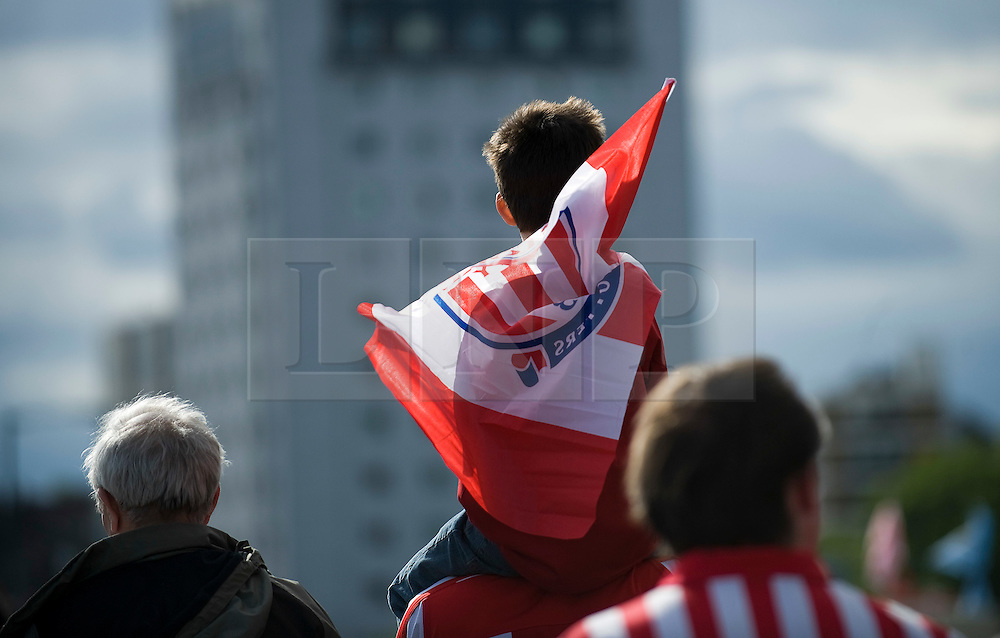 © licensed to London News Pictures. 14/05/2011. London, UK. Stoke City fans leaving Wembley Stadium today (14/05/2011) after loosing the  FA Cup final against Manchester City. Photo credit should read Ben Cawthra/LNP