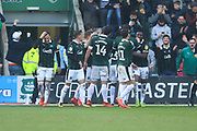 GOAL Threlkeld celebrates scoring  during the EFL Sky Bet League 1 match between Plymouth Argyle and Rochdale at Home Park, Plymouth, England on 23 February 2019.
