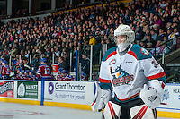 KELOWNA, CANADA - FEBRUARY 22: Brodan Salmond #31 of the Kelowna Rockets stands on the ice against the Edmonton Oil Kings on February 22, 2017 at Prospera Place in Kelowna, British Columbia, Canada.  (Photo by Marissa Baecker/Shoot the Breeze)  *** Local Caption ***