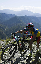 October 3, 2018 - Himachal Pradesh, India - Thomas Engelsgjerd of Spain competes at the 14th edition of the Hero MTB Himalaya mountain bike race in the northern Indian state of Himachal Pradesh on 4th  October, 2018. The 14th edition of the annual cross country race is taking place over eight stages in the foothills of the Himalaya, started in Shimla on September 28, 2018 and finishing in Dharamshala on October 6,2018. (Credit Image: © Indraneel Chowdhury/NurPhoto/ZUMA Press)