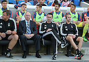 Forest Manager Dougie Freedman on the bench during the Sky Bet Championship match between Brighton and Hove Albion and Nottingham Forest at the American Express Community Stadium, Brighton and Hove, England on 7 August 2015.
