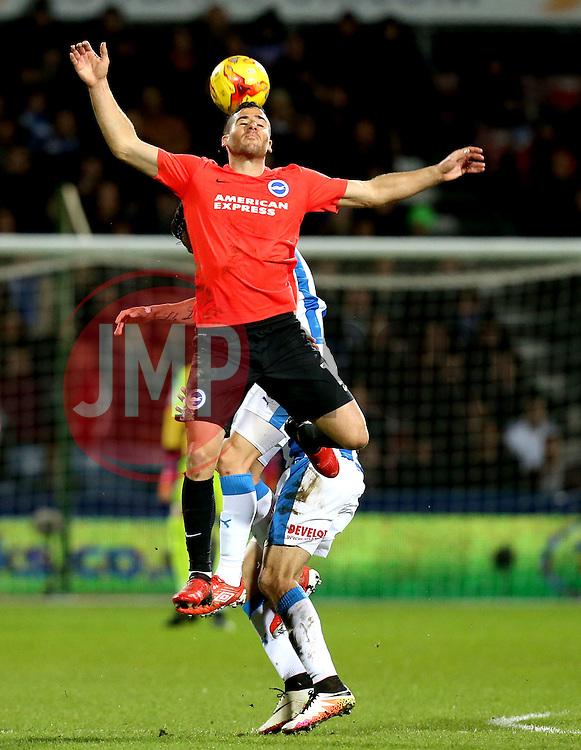 Anthony Knockaert of Brighton & Hove Albion heads the ball - Mandatory by-line: Robbie Stephenson/JMP - 02/02/2017 - FOOTBALL - John Smith's Stadium - Huddersfield, England - Huddersfield Town v Brighton and Hove Albion - Sky Bet Championship
