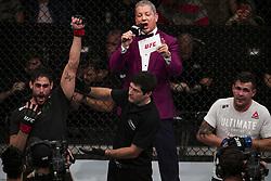 October 28, 2017 - Sao Paulo, Sao Paulo, Brazil - Oct, 2017 - Sao Paulo, Sao Paulo, Brazil - Fight between ANTONIO CARLOS JR (Cara de Sapato) and JACK MARSHMAN (The Hammer) during UFC Fight Night, at the Ibirapuera Gymnasium in Sao Paulo, this Saturday (28). CARLOS (in black) won. (Credit Image: © Marcelo Chello via ZUMA Wire)