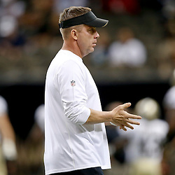 Sep 22, 2013; New Orleans, LA, USA; New Orleans Saints head coach Sean Payton against the Arizona Cardinals prior to kickoff of a game at Mercedes-Benz Superdome. Mandatory Credit: Derick E. Hingle-USA TODAY Sports