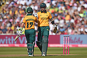 Ben Duckett of Notts Outlaws congratulates Alex Hales on reaching his half century during the Vitality T20 Finals Day 2019 match between Notts Outlaws and Worcestershire Rapids at Edgbaston, Birmingham, United Kingdom on 21 September 2019.