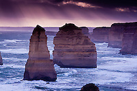 Stunning winter sunset over the beautiful Shipwreck Coast on the Great Ocean Road, Victoria, Australia.
