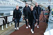 Newcastle United players Matt Ritchie, Matty Longstaff, Fabian Schar and Sean Longstaff arrive ahead of the Premier League match between Newcastle United and Chelsea at St. James's Park, Newcastle, England on 18 January 2020.