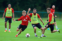 CARDIFF, WALES - Friday, September 2, 2016: Wales' George Williams, Joe Ledley and Ben Davies during a training session at the Vale Resort ahead of the 2018 FIFA World Cup Qualifying Group D match against Moldova. (Pic by David Rawcliffe/Propaganda)
