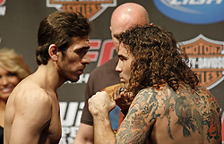 Dec 12, 2009; Memphis, TN, USA; Lightweights Kenny Florian and Clay Guida pose after weighing in for their upcoming bout at UFC 107.  The two will meet at the FedEx Forum in Memphis, TN.