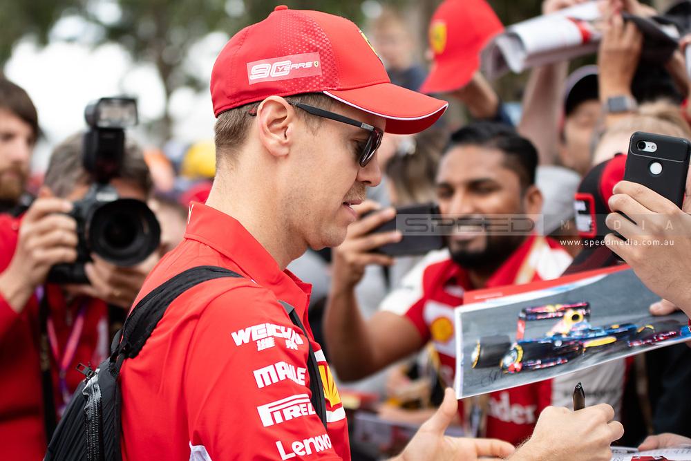 ALBERT PARK, VIC - MARCH 15: Scuderia Ferrari Mission Winnow driver Sebastian Vettel arrives at The Australian Formula One Grand Prix on March 15, 2019, at The Melbourne Grand Prix Circuit in Albert Park, Australia. (Photo by Speed Media/Icon Sportswire)