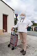 food shopper with self made mask during the Covid 19 crisis and lockdown France Limoux April 2020