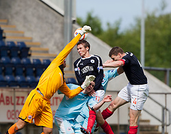 Stirling Albion's Sam Filler saves from Falkirk's Luke Leahy and Falkirk's Darren Dods..Half time, Falkirk 1 v 0 Stirling Albion, Ramsdens Cup..© Michael Schofield.