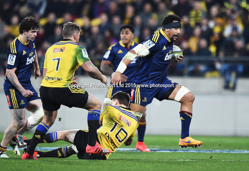 Nasi Manu during the Super Rugby Final between the Hurricanes and Highlanders at Westpac Stadium in Wellington., New Zealand. Saturday 4 July 2015. Copyright Photo: Andrew Cornaga / www.Photosport.nz