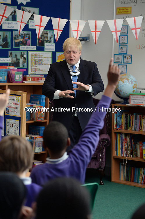 The Mayor of London Boris Johnson during a visit to Tidemill Academy in south London with Year 6 pupils for a special class to mark St George's Day, London, UK, Tuesday, April 23, 2013. Photo by: Andrew Parsons / i-Images