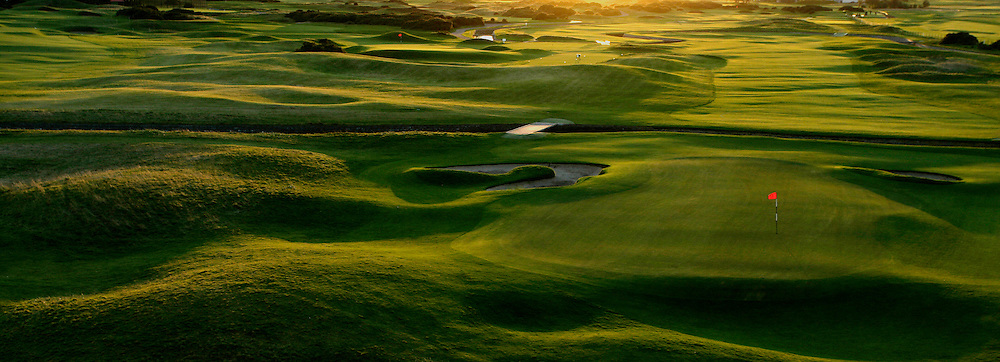 CARNOUSTIE Golf Links during autumn Panoramic (from left to right) 16th - par 3 / 17th - par 4 / 18th - par 4 with the famous Barry Burn,Carnoustie,Angus,Scotland.A regular venue on The Open Championship rota.