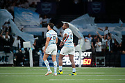 Josevata Taliga Rokocoko (Racing 92) greated by Juan Jose Imhoff (Racing 92) after scored a try during the French championship Top 14 Rugby Union match between Racing 92 and SU Agen on September 8, 2018 at U Arena in Nanterre, France - Photo Stephane Allaman / ProSportsImages / DPPI