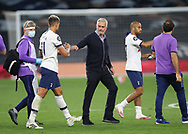Jose Mourinho manager of Tottenham celebrates with Erik Lamela of Tottenham during the Premier League match at the Tottenham Hotspur Stadium, London. Picture date: 23rd June 2020. Picture credit should read: David Klein/Sportimage