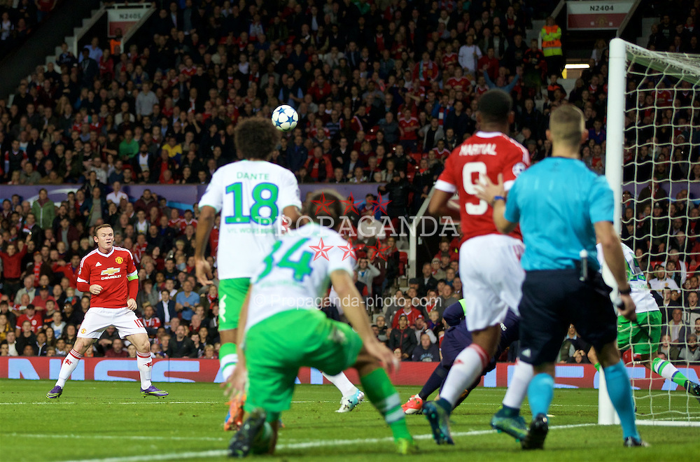 MANCHESTER, ENGLAND - Wednesday, September 30, 2015: Manchester United's captain Wayne Rooney sends his shit high over the VfL Wolfsburg goal during the UEFA Champions League Group B match at Old Trafford. (Pic by David Rawcliffe/Propaganda)