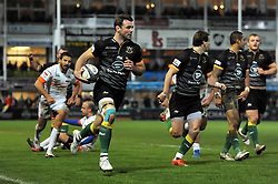 Ben Foden of Northampton Saints runs in a try - Photo mandatory by-line: Patrick Khachfe/JMP - Mobile: 07966 386802 13/12/2014 - SPORT - RUGBY UNION - Northampton - Franklin's Gardens - Northampton Saints v Treviso - European Rugby Champions Cup