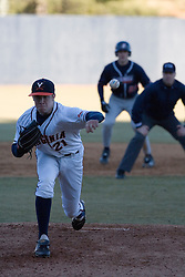 Virginia Cavaliers pitcher/firstbaseman Sean Doolittle (21) pitches against Bucknell.  The Virginia Cavaliers Baseball Team defeated the Bucknell University Bison 2-0 at Davenport Field in Charlottesville, VA on February 23, 2007.