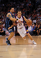Mar. 19 2010; Phoenix, AZ, USA; Phoenix Suns guard Steve Nash (13) is guarded by Utah Jazz guard Deron Williams (8) in the first half at the US Airways Center. Mandatory Credit: Jennifer Stewart-US PRESSWIRE.