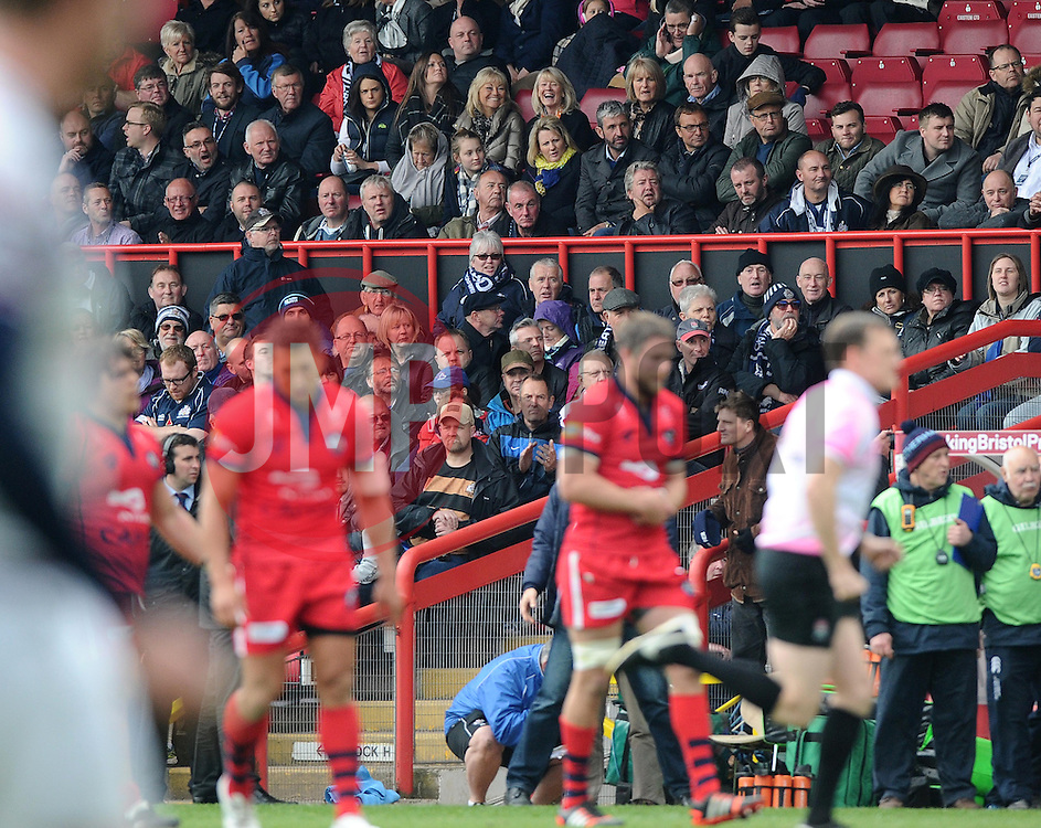 Fans in the williams stand  - Photo mandatory by-line: Joe Meredith/JMP - Mobile: 07966 386802 - 02/05/2015 - SPORT - Rugby - Bristol - Ashton Gate - Bristol Rugby v Rotherham - Greene King IPA Championship