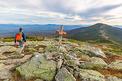 "Hiking the Appalachian Trail on ""The Horn"" on Saddleback Mountain in Maine's High Peaks Region."