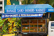 Taro Farmers Market in the town of Hanalei, Island of Kauai, Hawaii