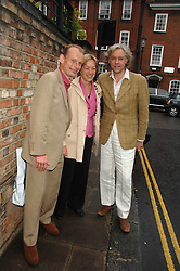 Left to right, ANDREW MARR, ? and BOB GELDOFF at the annual Sir David & Lady Carina Frost Summer Party in Carlyle Square, London SW3 on 5th July 2007.<br />