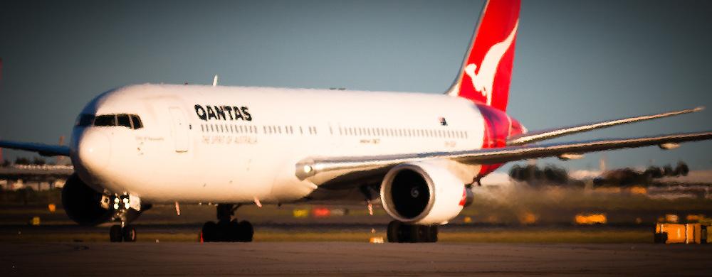 Taxiing QANTAS jet, Sydney International Airport, Australia