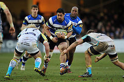 Alafoti Fa'osiliva of Bath Rugby takes on the Ospreys defence - Photo mandatory by-line: Patrick Khachfe/JMP - Mobile: 07966 386802 07/02/2015 - SPORT - RUGBY UNION - Bath - The Recreation Ground - Bath Rugby v Ospreys - LV= Cup