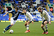 \b30 takes on Fulham defender Tim Ream during the Sky Bet Championship match between Birmingham City and Fulham at St Andrews, Birmingham, England on 19 March 2016. Photo by Alan Franklin.