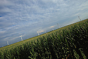 BROOKSTON, IN - JULY 8: General view of wind turbines framed by a field of corn at the Meadow Lake Wind Farm owned by Horizon Wind Energy on July 8, 2010 in Brookston, Indiana. (Photo by Joe Robbins)