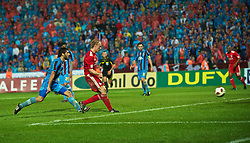 TRABZON, TURKEY - Thursday, August 26, 2010: Liverpool's Dirk Kuyt scores the second goal against Trabzonspor during the UEFA Europa League Play-Off 2nd Leg match at the Huseyin Avni Aker Stadium. (Pic by: David Rawcliffe/Propaganda)