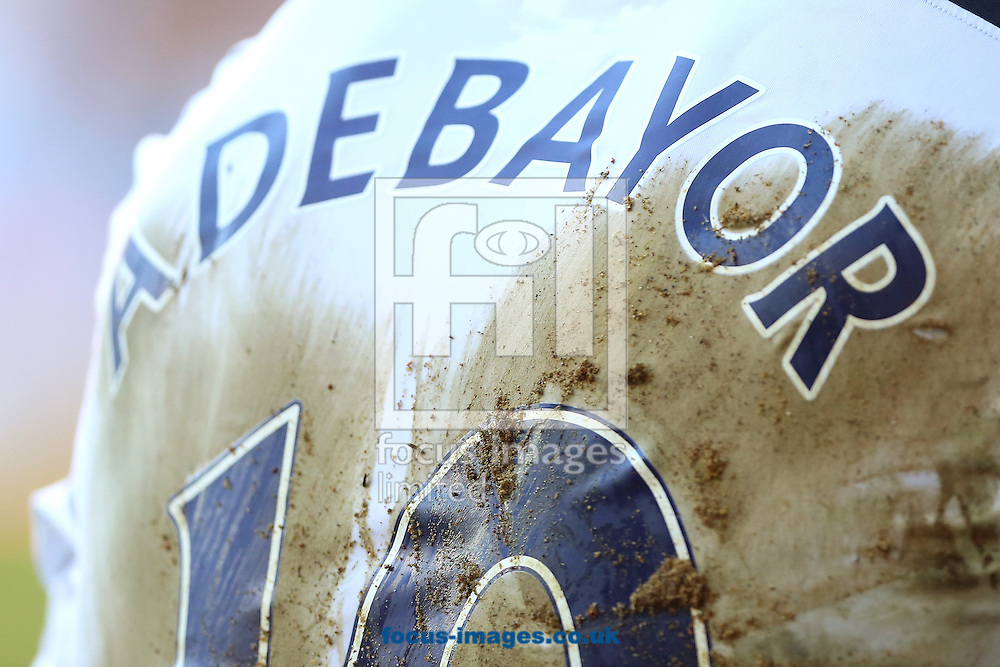 The muddied shirt of Emmanuel Adebayor of Tottenham Hotspur during the Barclays Premier League match against Arsenal at White Hart Lane, London<br /> Picture by Richard Calver/Focus Images Ltd +447792 981244<br /> 16/03/2014